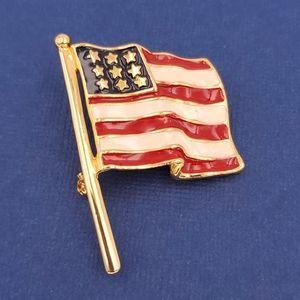 Vintage USA Waving Flag Brooch